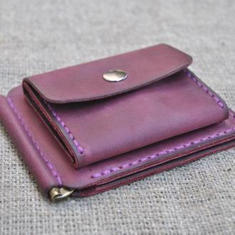 Кожаный кошелек с зажимом для денег с отделами для карт и монетницей Z05-800