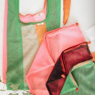 Набор из 5 мешочков, маечки сетки, прозрачных многоразовых пакетов для покупок. 5шт, Набор Маркет