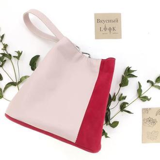 """Модная женская сумка из натуральной кожи """"Мята"""" (розовый)"""