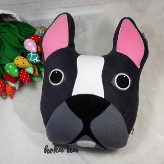 Мягкая игрушка - подушка собака,  французский бульдог