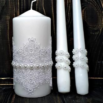 "Свадебные свечи ""Белый ажур"""