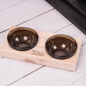 Підставка з мисками для собак і котів Pets Lounge Black, 2х200 мл