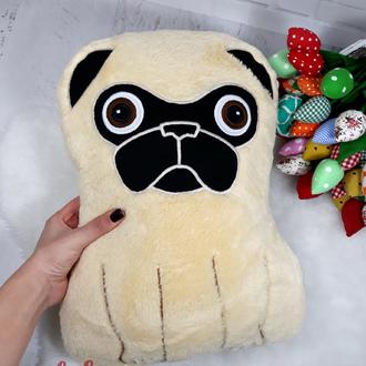 Мягкая игрушка - подушка собака Мопс