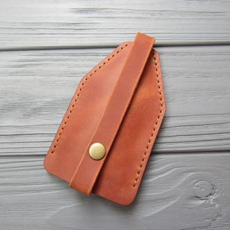 Чехол для ключей из натуральной кожи_кожаная карманная ключница_коричневая