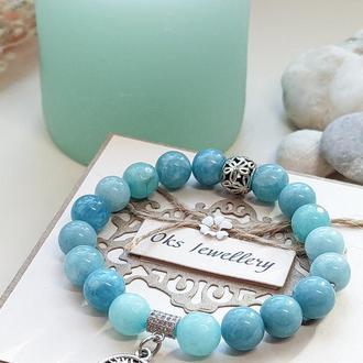 Браслет из натуральных камней, браслет из аквамарина, морской браслет, браслет на подарок