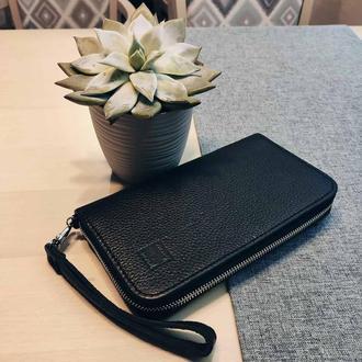 Чоловічий гаманець  Mone . Мужской cтильный кошелек , портмане , клач . Черный кошелек .