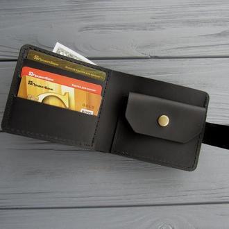 Кожаное мужское портмоне OSKAR_классический черный мужской кошелек_подарок мужчине