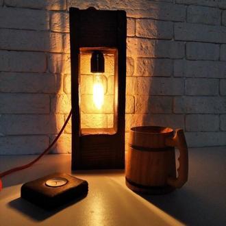 Деревянный светильник с лампой Эдисона