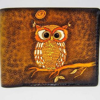 Кожаный бумажник с совой, купить подарок близкому кожаный кошелек, кожаный кошелек ручной работы