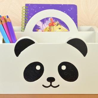 Подарок школьнице школьнику ящик подставка для канцелярии , органайзер Панда школьный, детский из де
