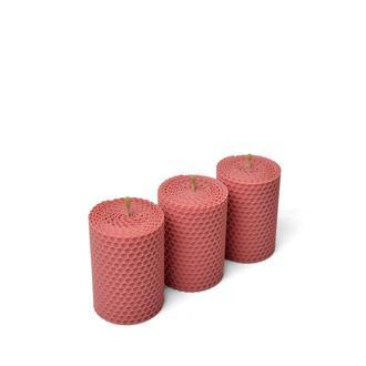 Набор из трех стильных розовых свечей для декора интерьеров, в подарочной упаковке