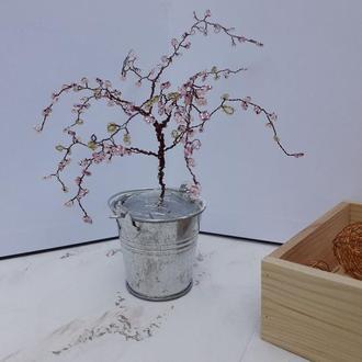 Бисерное дерево в ведерке