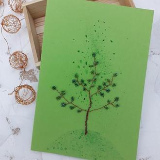 Открытка с бисерным деревом