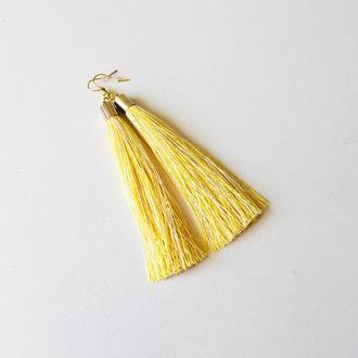 Желтые серьги кисточки, серьги кисти, длинные желтые серьги