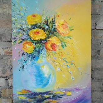 Жовті троянди, полотно, олія