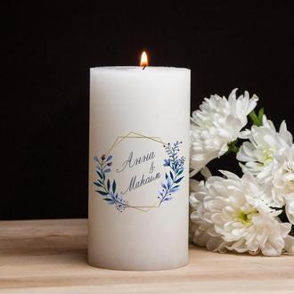 Большая свеча для романтического вечера, парафин, цветной рисунок