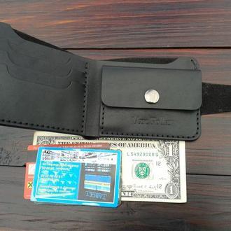 Мужской кожаный кошелек Van Pollar черный