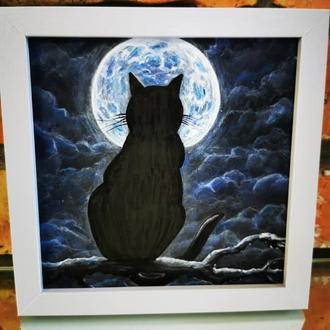 Картина на черном фоне. котик