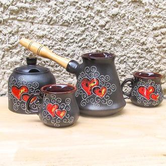 Набор кофейный Рио с двумя чашечками и сахарницей декор Сердце черный