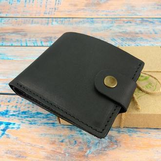 Мужское кожаное портмоне на кнопке Handycover HC0028 черное
