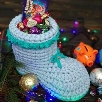Новогодний сапожок- конфетница, Корзинка для подарков, конфетница, новогодний декор