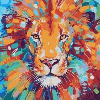 Картина за номерами Барвистий лев