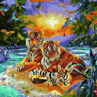Алмазна картина-розмальовка 40x50 Сім'я тигрів