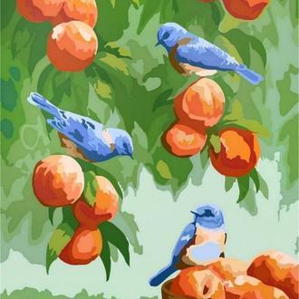 "Картина за номерами без упаковки ""Дрозди і персики"""