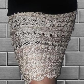 Шёлковая вязаная юбка миди цвета шампань