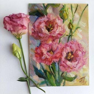 Миниатюра Эустомы картина цветы