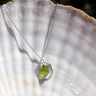 Серебряный кулон с хризолитом, кулон с камнями, подарок