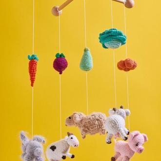 Ферма детский мобиль вязанный крючком хендмейд/Ферма тварин дитячий мобіль ручної роботи в'язаний