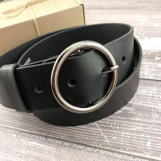 Женский кожаный ремень широкий JK-4510 black (115 см)