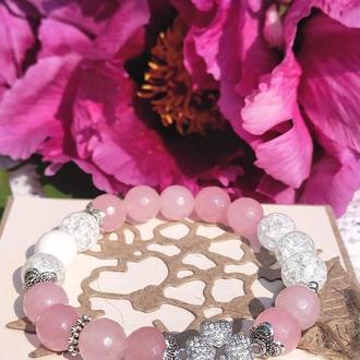 Браслет из натуральных камней, браслет из розового кварца, браслет из нефрита,браслет на подарок