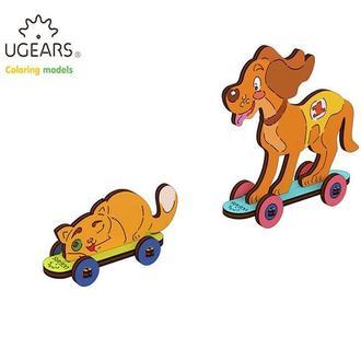 Деревянная раскраска Ugears «Котик и собачка»