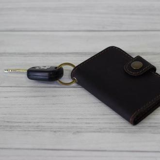 Кожаный брелок кошелек для водительських прав. Чехол для автодокументов. Карт холдер из кожи