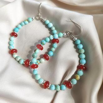 Серебряные серьги с хубейською бирюзой и сердоликом, Серьги бирюзового цвета на крючке