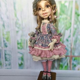 Текстильная шарнирная кукла с мишкой