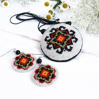 Комплект серьги и кулон бохо Украинские украшения этно