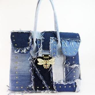 Джинсовая сумка Большая женская сумка из джинса Джинсовая мода