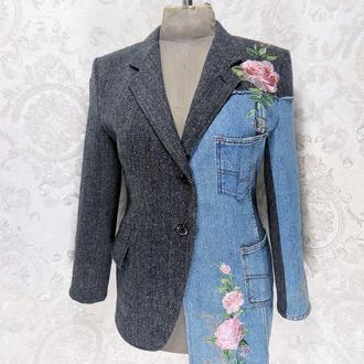 Комбінований жіночий піджак з вовни і джинса Вишитий бохо піджак