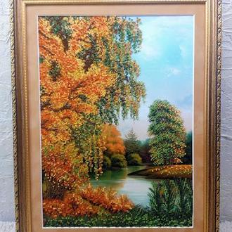 Картина бисером осень осенний парк пруд небо камыши