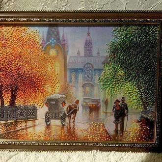 Картины бисером осень, осенний проспект, парк.
