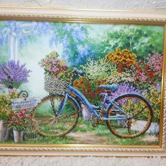 Картина бісером Виставка квітів, прованс, велосипед, альтанка