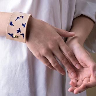 Кожаный браслет LUY N. 9 DOVE синий. Браслет из натуральной кожи