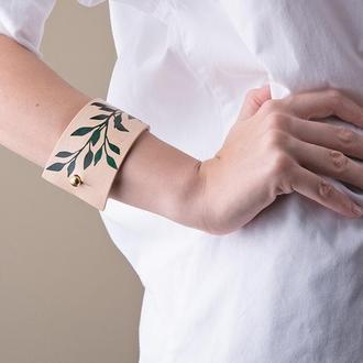 Кожаный браслет LUY N9 LAUREL  зеленый. Браслет из натуральной кожи