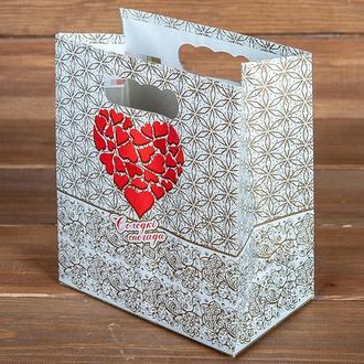 Пакет для каравая или торта золотистые с красным сердцем (арт. C-0069)