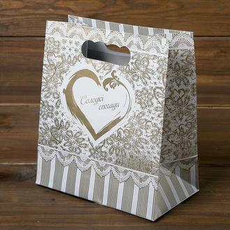 Пакет для каравая или торта золотые с сердцами (арт. C-0071)