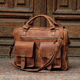 Коричневый кожаный портфель, Мужская кожаная сумка для ноутбука