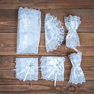 Набор для венчания с кружевом белый